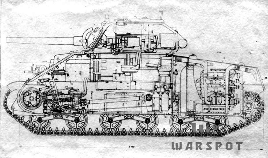 ​Cutaway diagram of the M4A4. The engine does not quite fit into the engine compartment - A Tank for Allies | Warspot.net