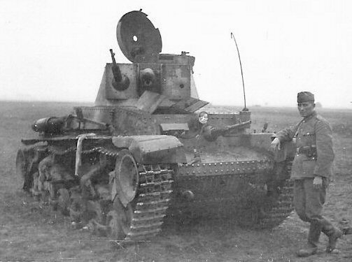 ​German Pz35(t) knocked out by a 37 mm gun (either towed or tank). The white cross is covered in mud. German tankers tried to conceal this revealing marking which made an excellent target - 7TP: Polish Vickers | Warspot.net