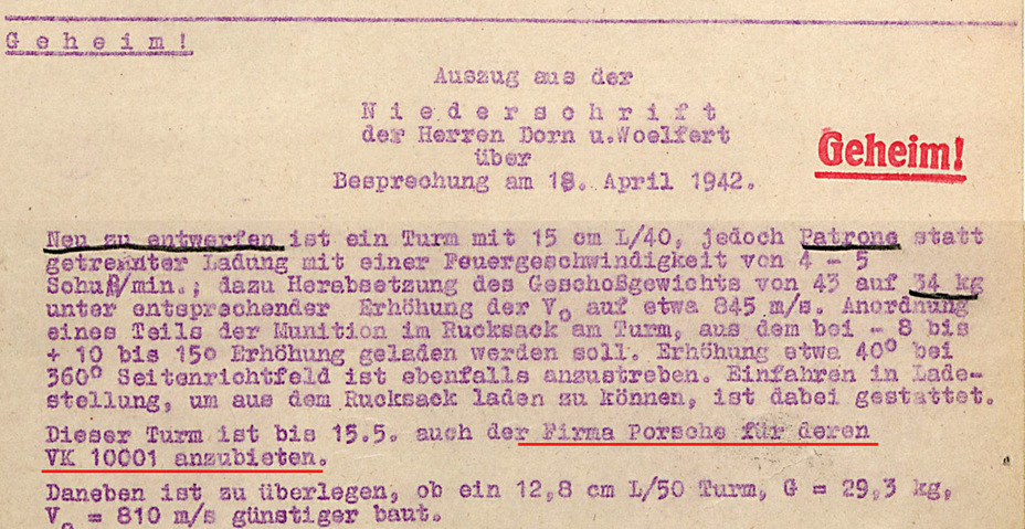 ​The first mention of the VK 100.01 in Krupp's correspondence. The same letter mentions a 128 mm L/50 gun - Mauschen: Rat Race | Warspot.net