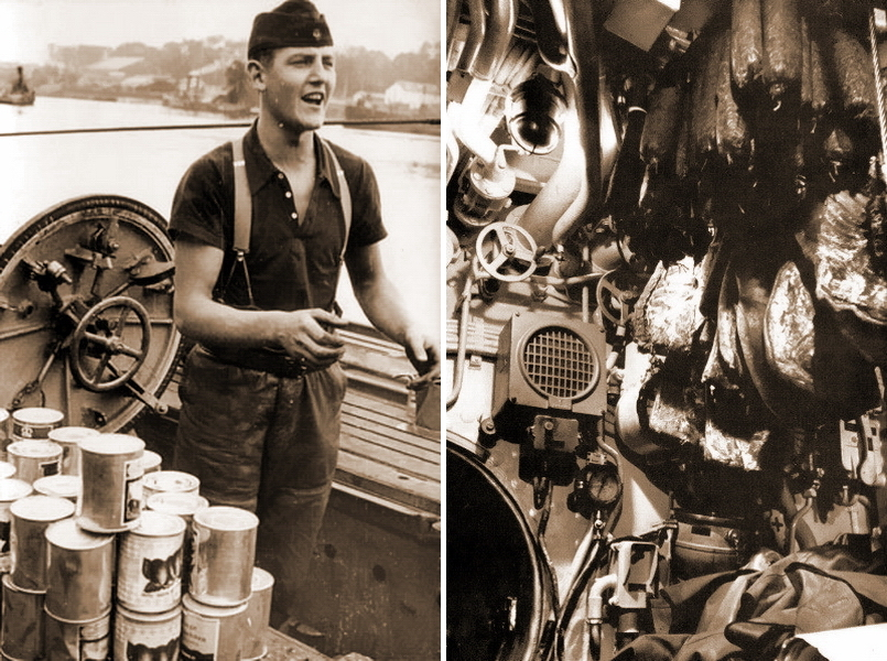 "​U 604 submarine's cook in charge of loading food supplies. Jars of fruit preserves in front (on the left). Numerous sausages and hams are hanging from the compartment ceiling next to equipment (on the right) - What the ""Dönitz' grey wolves"" were eating? 