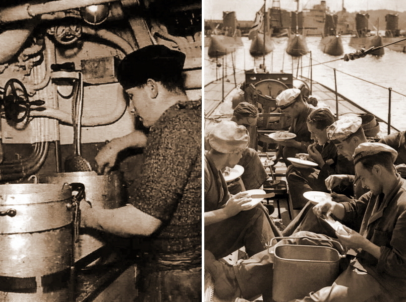 "​Cook doing his cooking ""magic"" in U-boat's tight kitchen compartment (on the left). Mealtime on U-boat's upper deck. This picture was taken before the war (on the right) - What the ""Dönitz' grey wolves"" were eating? 