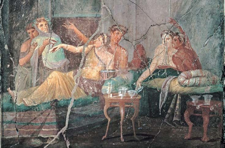 ​Romans ate twice a day. In the morning they made breakfast, in the afternoon they had a light snack, then towards evening all family members and their guests gathered around the table to have dinner. Such feasts could go on until late at night. Pompeian mural from the 1st century B.C. shows feasting people, Naples, National Archaeological Museum - Diet of Legionaries | Warspot.net