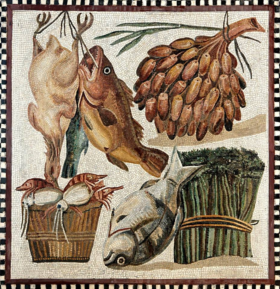 ​2nd century mosaic depicting food. Tunisia, Bardo National Museum - Diet of Legionaries | Warspot.net