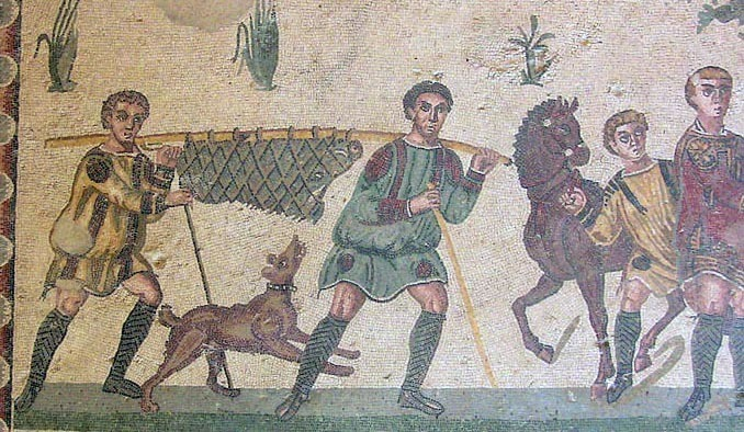 ​Hunters carrying a wild boar. Mosaic from Piazza Armerina, late 3rd – early 4th century - Diet of Legionaries | Warspot.net