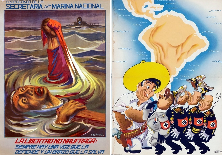 ​The left poster informs that the freedom did not die in the marine disaster. There are always helping hands for it. The right poster is totally different and depicts the traditional Mexican who is just about to kick the arses of the Nazis - Highlights for Warspot: Mexico at war | Warspot.net