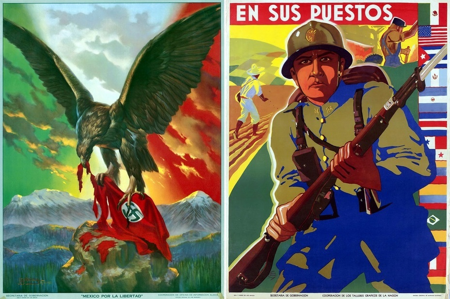 "​The left poster is stylized similarly to ones of World War I . The sentence ""Mexico por la Libertad!"" is translated as ""Mexico for freedom!""  The poster on the right side informs that Mexico had made the right choice. The slogan «En sus Puestos» can be literally translated as ""In the right place"" - Highlights for Warspot: Mexico at war 