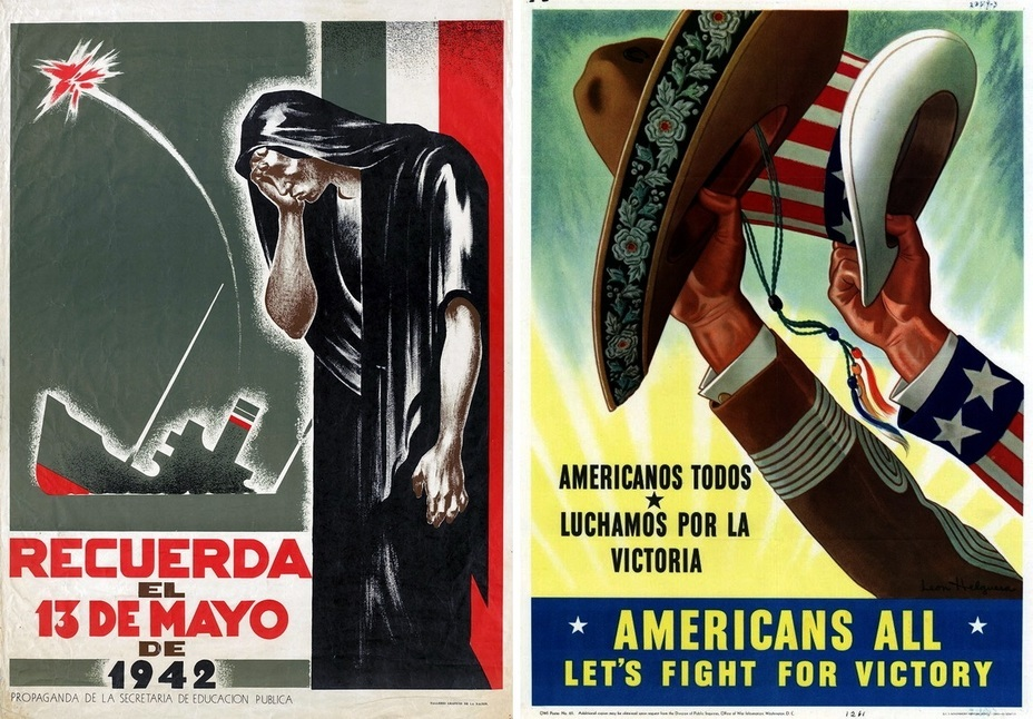 ​The left poster calls on us to remember 13th May 1942, the day when the Mexican tanker Potrero del Llano was torpedoed and sunk by a German U-boat off the coast of Florida. In the right poster, the slogans in two languages insist that all Americans should fight for victory and freedom - Highlights for Warspot: Mexico at war | Warspot.net