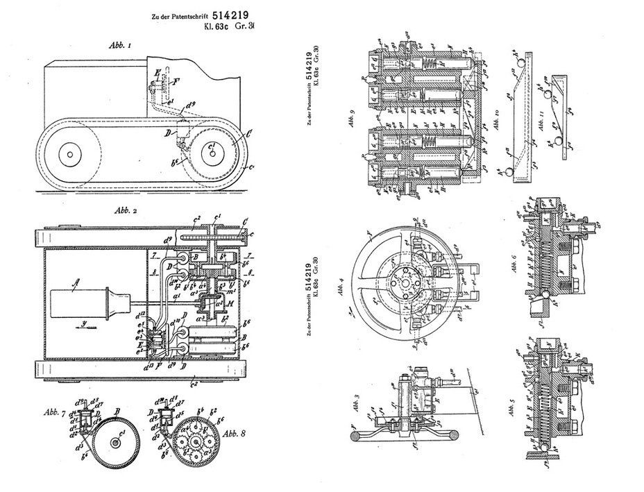 ​Illustration from patent DE514219C by Erich Wolfert. The patent was filed on June 21st, 1929, meaning that the real idea could be several years older. Don't let the word «tractor» fool you, this is a transmission and control system for the Kleinetraktor - Krupp Leichttraktor | Warspot.net