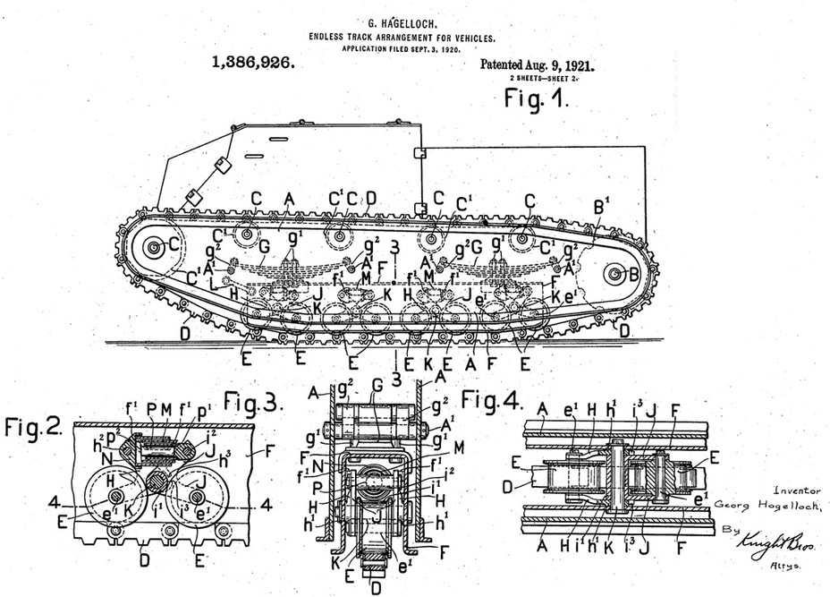 ​Illustration from Georg Hagelloch's patent, one of the few known images of the Kleiner Sturmwagen. The modernized tank would have this suspension. Some solutions from this project carried over to the Kleinetraktor - Krupp Leichttraktor | Warspot.net