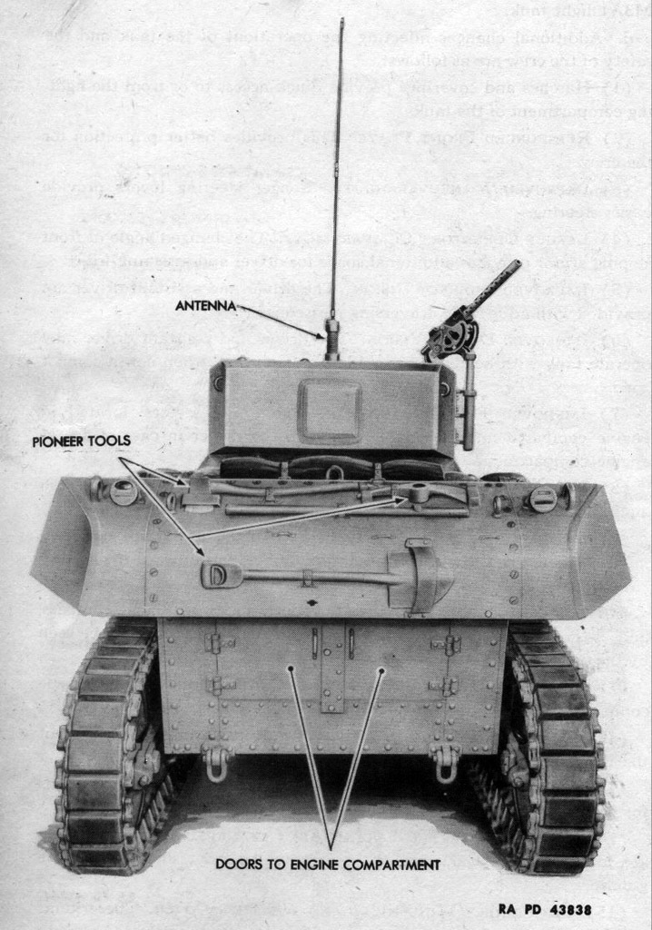 ​Initial placement of tools on the rear of the tank. Mass production tanks also received a toolbox here - Light Tank M3A3: American Emigrant | Warspot.net