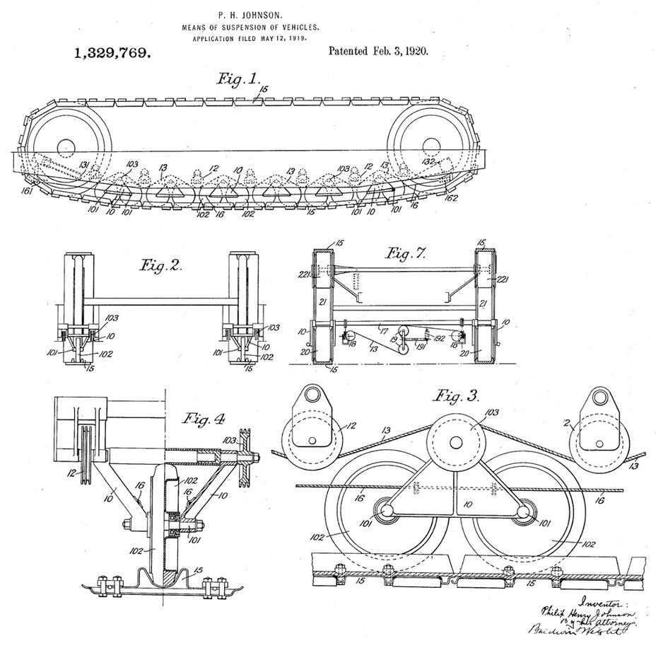 ​A suspension patent by Philip Johnson. Some of its elements look far from normal - Medium Tank T1E1: Britain's Heir | Warspot.net