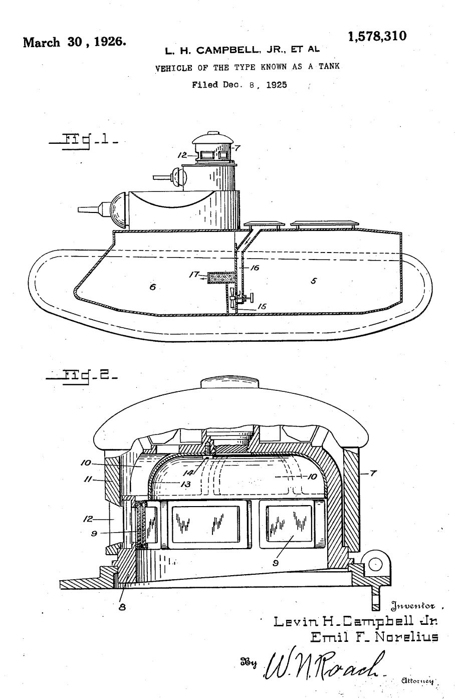 ​Joint patent for the Medium Tank M1921 design. Levin H. Campbell Jr. was Norelius' co-author, another key figure in the American armed forces in the WWI years - Medium Tank T1E1: Britain's Heir | Warspot.net
