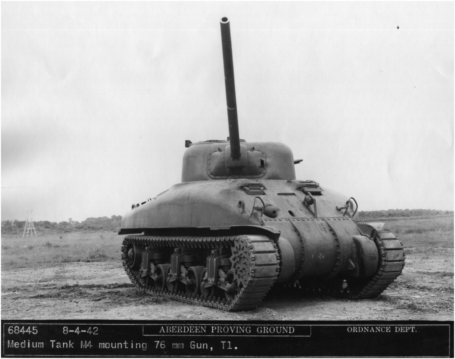 ​Medium Tank M4 with a 76 mm T1 gun in the Combination Gun Mount M34. Aberdeen Proving Grounds, August 1942. The white ring shows the length of the 75 mm M3 gun - The Longest Millimeter | Warspot.net
