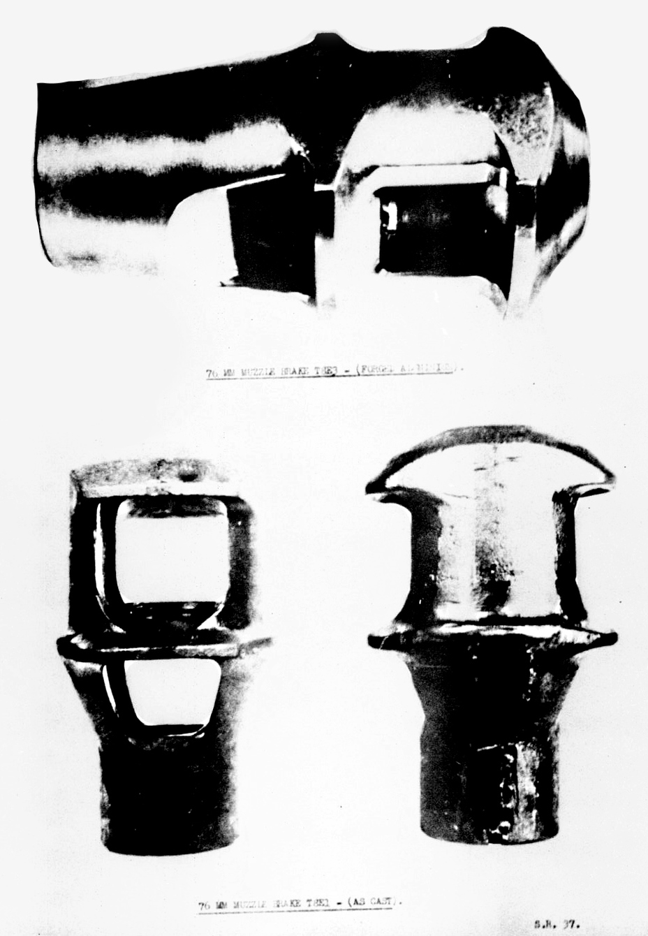 ​Top: experimental forged aluminium T8E3 muzzle brake. Bottom: Experimental cast T8E1 muzzle brake - The Longest Millimeter | Warspot.net