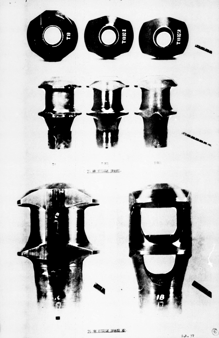 ​Top: experimental muzzle brakes for the M1A2 gun: T8, T8E1, T8E2. Bottom: standardized muzzle brake M2 - The Longest Millimeter | Warspot.net