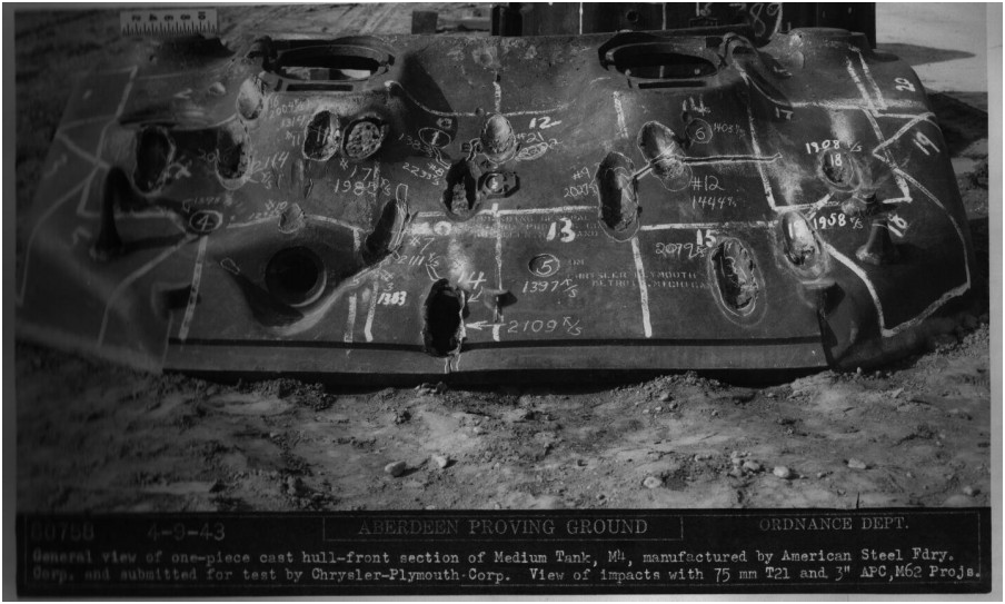 ​Results of firing at a Sherman's upper front cast armour with 75 and 76 mm shells. Only 76 mm shells were able to penetrate fully - The Longest Millimeter | Warspot.net
