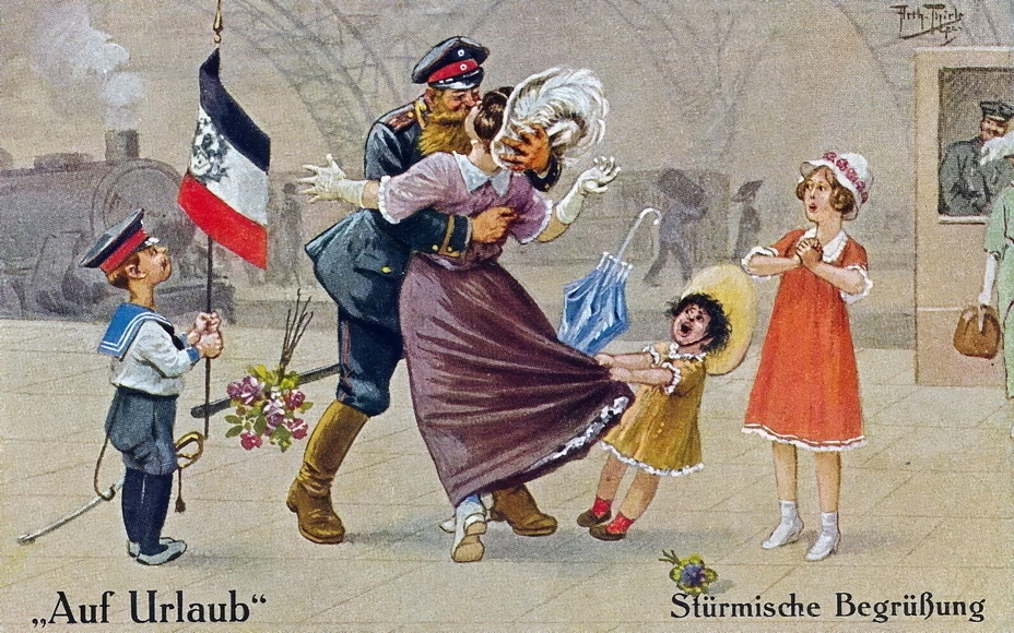 "​""A stormy welcome"" (Stürmische Begrüßung). That's how a real front-line soldier meets his wife! The youngest daughter, however, seems to have forgotten her father and got scary - Highlights for Warspot: Landsturm on vacation 