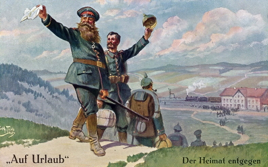 "​""Towards the homeland"" (Der Heimat entgegen). Happy holidaymakers say goodbye to their comrades, while walking down from the mountain to the railway station, where a train is already waiting for them - Highlights for Warspot: Landsturm on vacation 