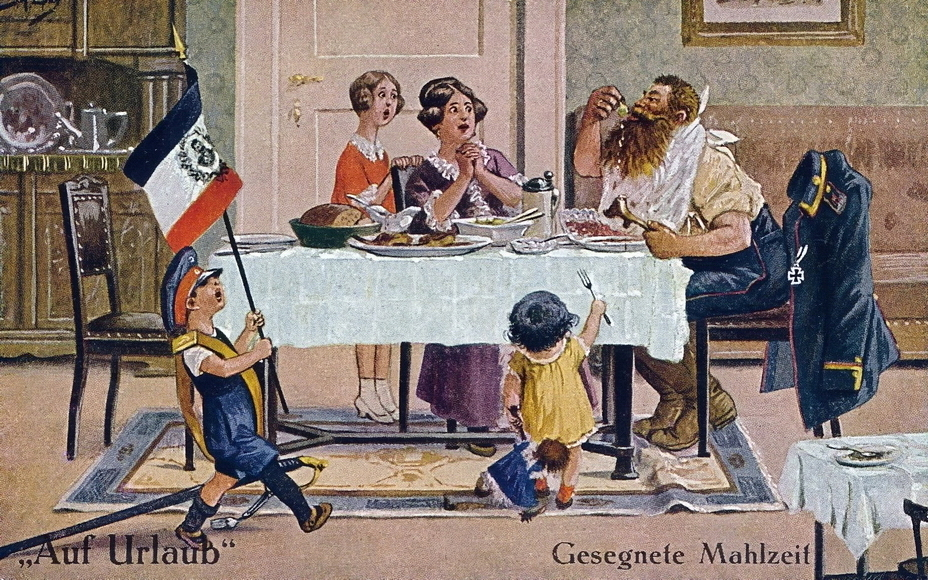"​""A blessed meal"" (Gesegnete Mahlzeit). The homesick Landsturmer, who missed the homemade food, shows an outstanding appetite — and the food situation in the country is clearly behind the scenes. An offspring with his father's cap and saber marches around the room under the flag with a portrait of the Kaiser - Highlights for Warspot: Landsturm on vacation 