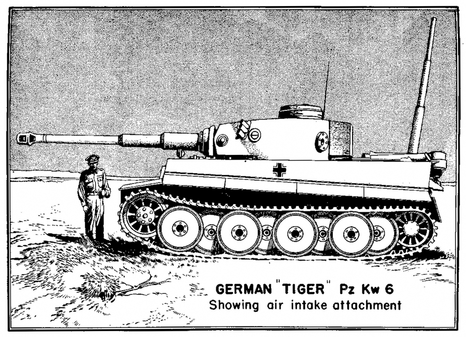 ​A drawing of a Tiger tank with a snorkel attachment. The Tiger could be sealed to travel underwater, leading the British to assume that it was built for an invasion of the British Isles - Tiger Killers | Warspot.net