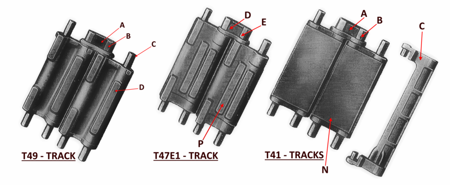 ​Three types of Sherman track links: T49 (metallic with parallel grousers), T47E1 (metallic with parallel grousers and rubber padding on the inside), and T41 (rubber coated from both sides) as well as a removable grouser - The Most American Sherman | Warspot.net