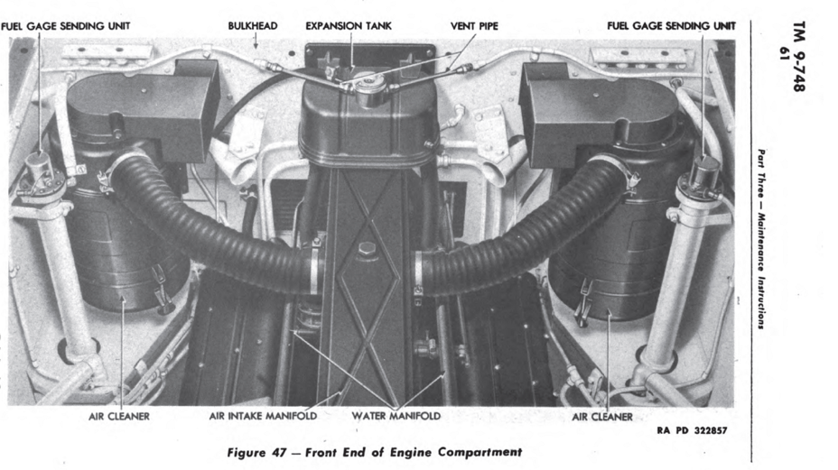 ​Air filters in the engine compartment - The Most American Sherman | Warspot.net