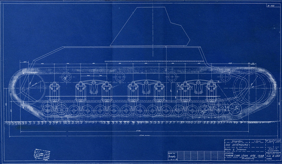 ​The index Char léger AMX 1938 was first used in blueprint 0-155 on June 13th, 1938. Note that instead of the APX R turret, the FCM turret is depicted - AMX 38: A Tank Between Classes | Warspot.net
