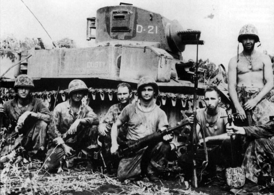 ​American marines in front of a flamethrower Satan tank, 1944 - M3A1: Light Tank with a Hard Fate | Warspot.net
