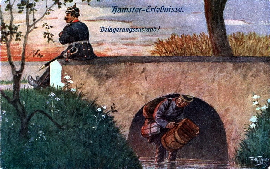 "​""State of siege"" (Belagerungszustand!). In order not to catch the eye of the policeman, who decided to rest near the bridge, the speculator has to wait knee-deep in the water - Funny pics Warsport: The Adventures of Hamsters 
