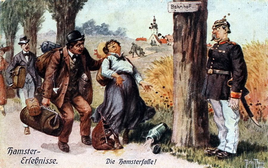 "​""Hamster trap"" (Die Hamsterfalle). A crowd of speculators follows from the village to the railway station but gets into view of an alert policeman. At this moment, an elderly woman becomes ill, her companion sweats and is on the verge of fainting. - Highlights for Warspot: The Adventures of Hamsters 