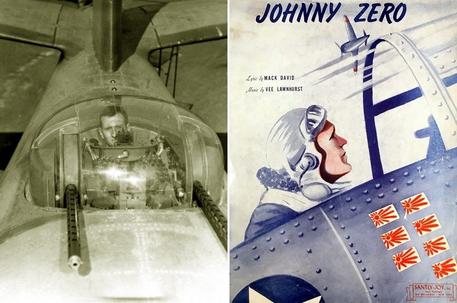 ​On the left, the air gunner of the «Marauder» at his workplace in the upper tower of the bomber, on the right, the cover of the booklet with the words and notes of the song «Johnny Zero», 1943 - Songs of Warspot: The Legend about Johnny Zero | Warspot.net