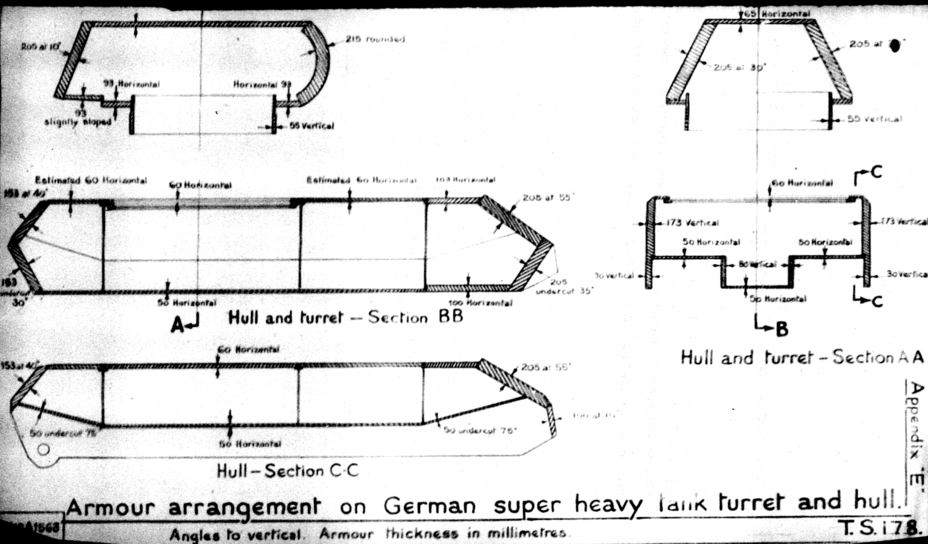 ​British measurements of the Maus' armour. Some measurements are approximate - The Elusive Maus | Warspot.net