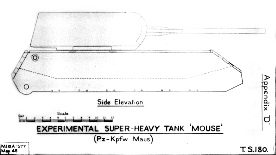 ​A drawing of all known parts of the Maus fitted together. The British had no information about the design of the running gear and gun mantlet - The Elusive Maus | Warspot.net