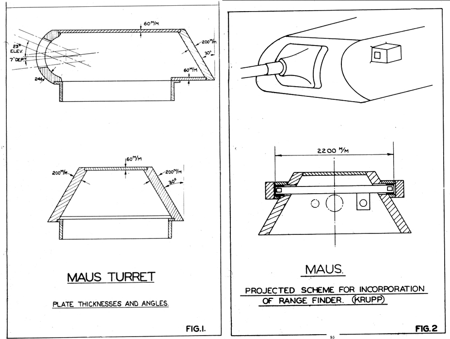​A diagram for the Maus turret as built (left) and with a prospective rangefinder (right) - The Elusive Maus | Warspot.net