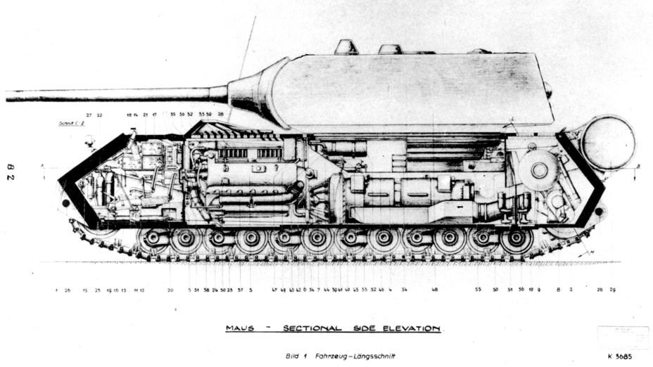 ​Cutaway diagram. Despite the tank's colossal size, there was very little room inside - The Elusive Maus | Warspot.net