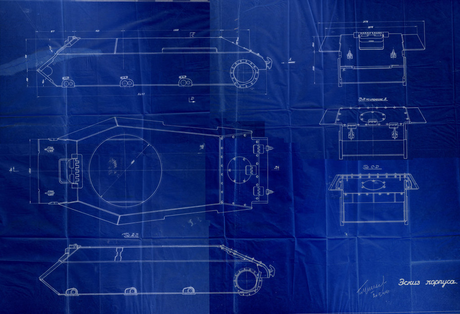 ​A draft blueprint of the light tank hull designed at factory #174's design bureau. The T-50's influence is obvious, despite a number of differences - How the LTTB Was Born | Warspot.net
