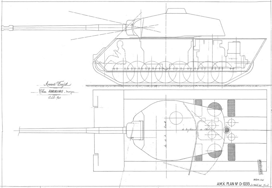 ​Draft of the Char A.M.X.45, drawing 0-1033 dated August 1st, 1945. Judging by the date, the work started even before the tender for the ARL 44's successor was officially announced - AMX M4: Third Reich Serving the Fourth Republic | Warspot.net