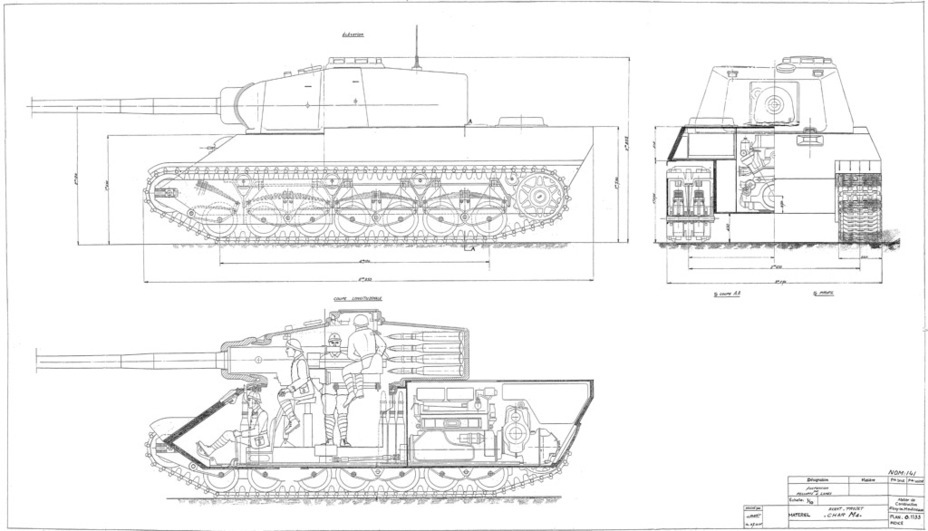 ​A project for a bogey suspension, December 1945. This was the wrong way to go for simplification, note the complexity of the skirts and bogey mountings - AMX M4: Third Reich Serving the Fourth Republic | Warspot.net