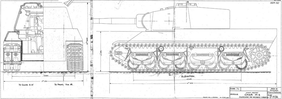 ​An AMR-35 type suspension design. This design was better than leaf springs, but still lost to the torsion bars. The project did not advance past designs on paper - AMX M4: Third Reich Serving the Fourth Republic | Warspot.net