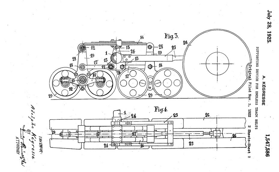 ​A suspension patent that Adolphe Kégresse used on halftracks and modernized Renault FT tanks - Renault NC: Destined for Export | Warspot.net
