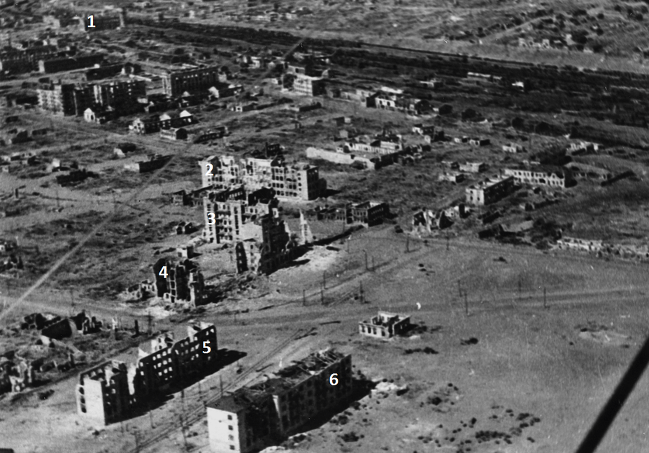 ​In the foreground is Ninth January Square, the area of ​​operations of the 3rd Battalion of the 42nd Guards Regiment  1. In the distance looms the central station of Stalingrad, where the 1st Battalion of 42 GRR held positions 2. Building of School number 6 3. Ruins of the six-story building of Oblpishcheprom, better known as the Voentorg 4. Remains of the adjacent «house of metalworkers» 5. House of Sovpartkontrol, known in the divisional reports as «Zabolotny's House» 6. House of Oblpotrebsoyuz, better known as «Pavlov's House» - Unknown Stalingrad: «Grenade, Grenade, My Grenade…» | Warspot.net
