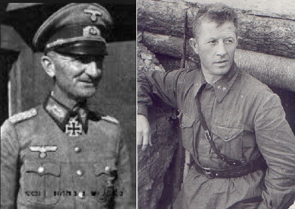 ​Left in the photo is General of Infantry Alexander von Hartmann, commander of the 71st Infantry Division, 51 years old. Knight of the Iron Cross, veteran of the First World War, where he was seriously wounded. Under his command Soldiers of the 71st Division marched through Belgium and France, then fought near Kharkov and the Don. On January 26, 1943, General Hartmann, climbing a railway embankment and rising to his full height, opened fire from a rifle in the direction of the Russian positions. The end was predictable, the German general, who did not want to surrender, caught his bullet, and 71st ID almost completely disappeared in the Stalingrad cauldron. On the right is Major General Alexander Ilyich Rodimtsev, commander of the 13th Guards Division, 37 years old. He took part in the civil war in Spain (where he received the title of Hero of the Soviet Union, the Order of Lenin and two orders of the Red Banner) and the Soviet-Finnish war. The soldiers of the 13th Guards Division, formed from an airborne corps, met for the first time the infantrymen of Hartmann while defending Kiev. Their next «encounter» was near Kharkov, and now — in the center of Stalingrad - Unknown Stalingrad: «Grenade, Grenade, My Grenade…» | Warspot.net
