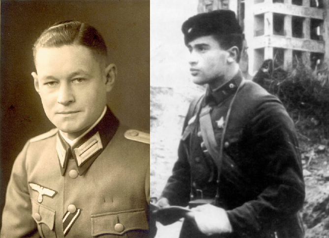 ​Left, Hauptman Gerhard Hindelang, commander of the 1st Battalion, 194th Infantry Regiment. The scouts of the Hindelang battalion were the first to reach the Volga and seize the «houses of specialists» and the building of the State Bank. Right: Captain Alexei Efimovich Zhukov, commander of the 3rd Battalion. Pavlov, Makarov, Zabolotny: guards of the Zhukov battalion - Unknown Stalingrad: «Grenade, Grenade, My Grenade…» | Warspot.net