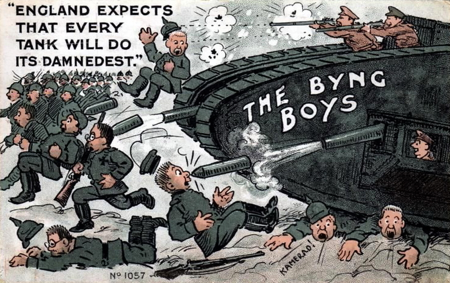 ​A year later, postcards with tanks became widespread. The inscription on the tank reads «Byng Boys» — in honor of the commander of the British 3rd Army, General Julian Byng, in the sector of which on November 20, 1917, during the Battle of Cambrai, the first massive tank offensive in history was launched. At that time about 400 vehicles went into battle simultaneously. The text on the left side of the postcard is an allusion to Nelson's words before Trafalgar. Back then the signal «England expects that every Man will do his Duty» was raised on the flagship. For the postcard, the text was slightly corrected: «England expects that every Tank will do its Damnedest» - Highlights for Warspot: Daddy Byng's Boys | Warspot.net