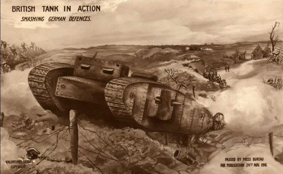 "​""British tank in action. Smashing German defences."" A postcard on which tank is drawn quite accurately, approved by censorship on November 24, 1916 - Highlights for Warspot: Daddy Byng's Boys 