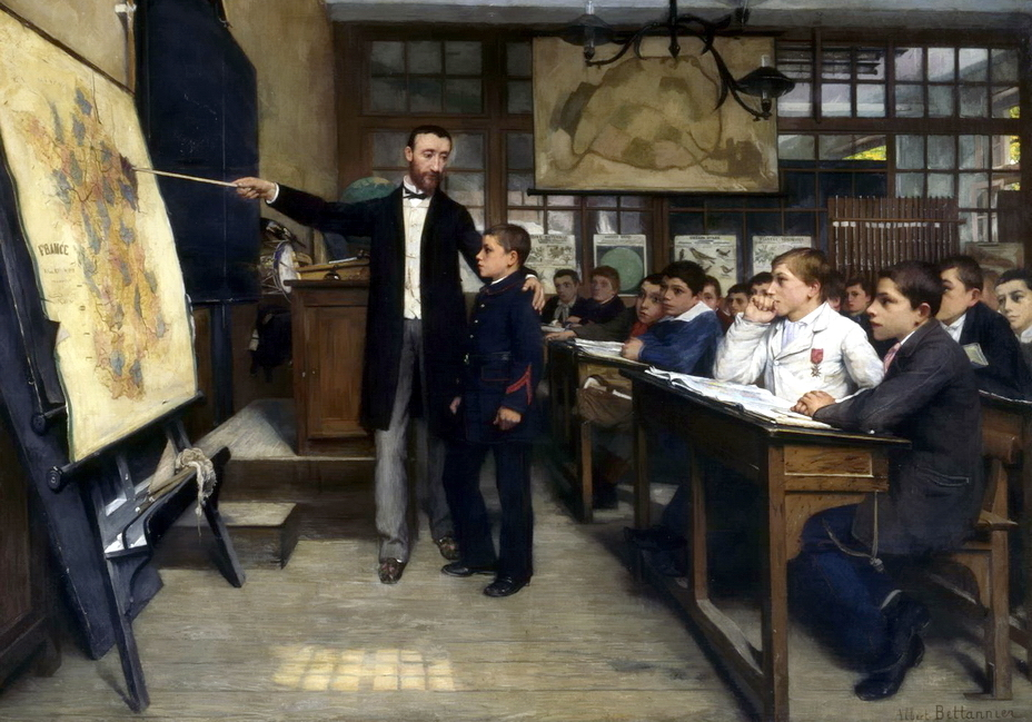 ​Painting by French artist Albert Bettannier «The Black Spot», 1887. The picture shows a geography lesson — on the school map Alsace and Lorraine are highlighted in black - Highlights for Warspot: Alsace changing hands, Lorraine as a bargaining chip | Warspot.net