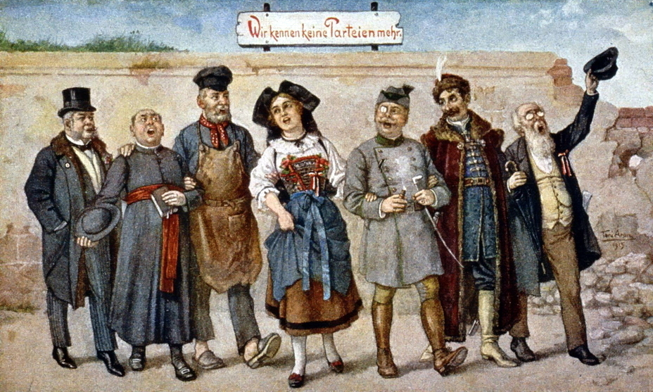 ​A 1914 German postcard depicts Alsace among enthusiastic Germans wearing a traditional headdress – an oversized black bowknot. The words «Wir kennen keine Parteien mehr» — «We no longer have any parties» — is a slightly modified quote from the speech of Kaiser Wilhelm II of August 4, 1914, in which he declared that now there are only Germans. Accordingly, the left group of figures, apparently, represents the unity of the German social classes, the right — the unity of the nationalities - Highlights for Warspot: Alsace changing hands, Lorraine as a bargaining chip | Warspot.net