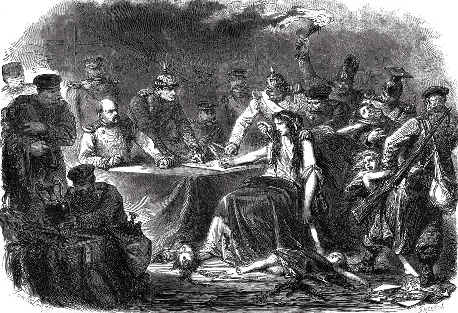 ​French engraving depicting France surrounded by wild Boches, forced to sign a peace treaty on unfavorable terms - Highlights for Warspot: Alsace changing hands, Lorraine as a bargaining chip | Warspot.net