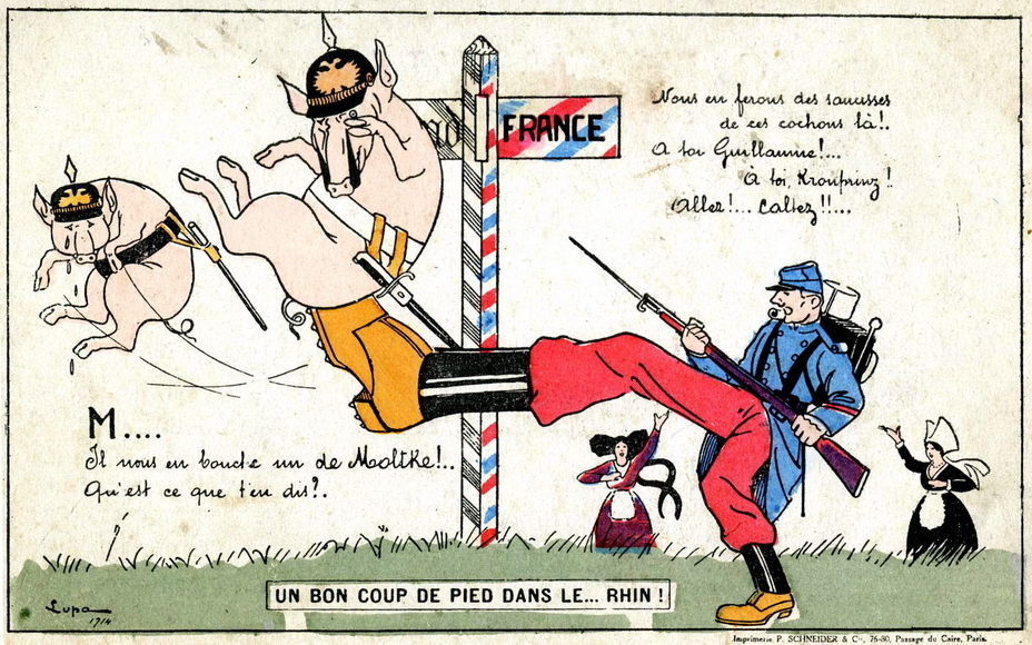 ​French postcard: poilu sends German pigs across the Rhine with one kick to the approval of Alsace and Lorraine - Highlights for Warspot: Alsace changing hands, Lorraine as a bargaining chip | Warspot.net