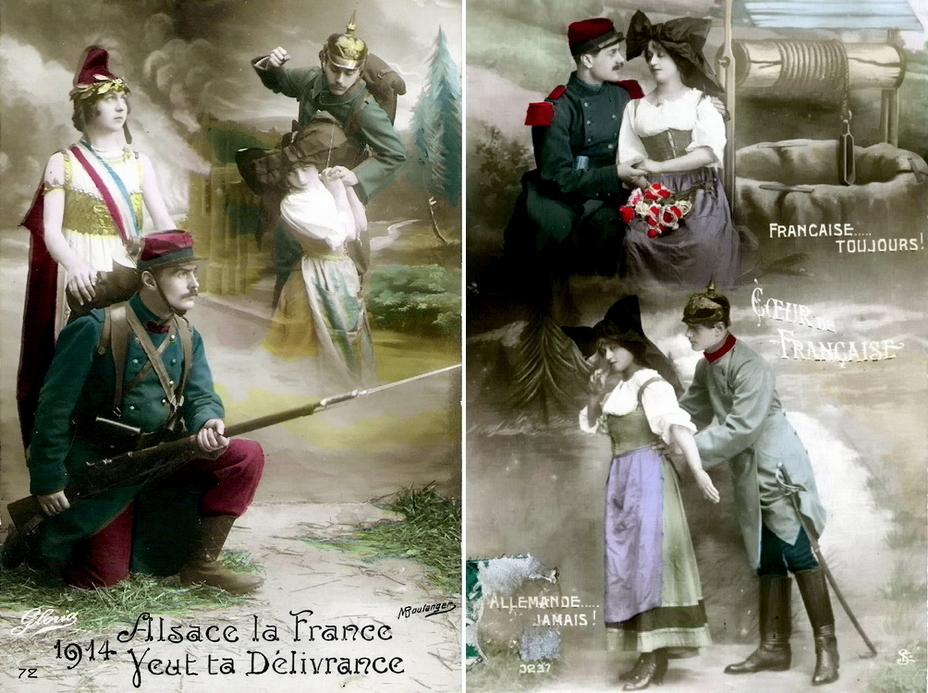 "​Almost family scenes on French postcards from the First World War: «France — forever, Germany — never."" As it turns out later, «forever» will end in 1940 - Highlights for Warspot: Alsace changing hands, Lorraine as a bargaining chip 